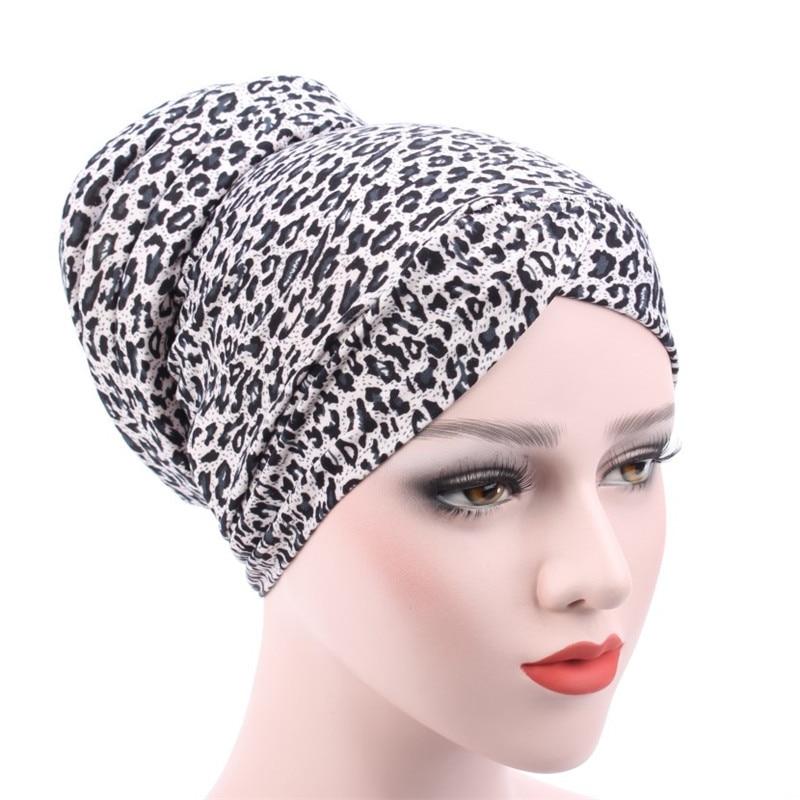 New Leopard Print women turban hats Muslim Fashion Womens Hijabs Cotton Cover Inner Hijab Cap Islamic Head Wear Hat Under Scarf