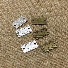 Achats gratuits deux couleurs Vintage en alliage de métal mustopore règle breloques bijoux connecteurs pour Bracelets 50 pièces/lot 12*22mm