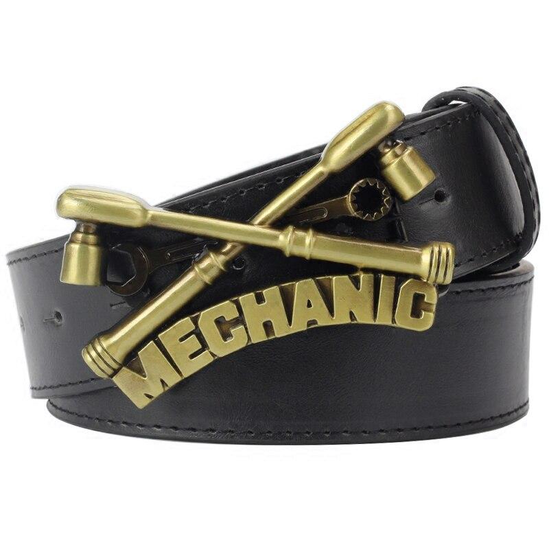 Cinturón de hombre fresco de cuero de pu cinturón de trabajo mecánico hebilla de mecánica cinturón de Metal de trabajo mecanizado profesional para hombres de regalo