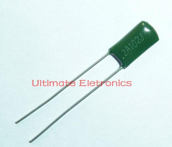100 pces capacitor de filme mylar 100v 2a102j 0.001uf 1nf 2a102 5% capacitor de filme de poliéster