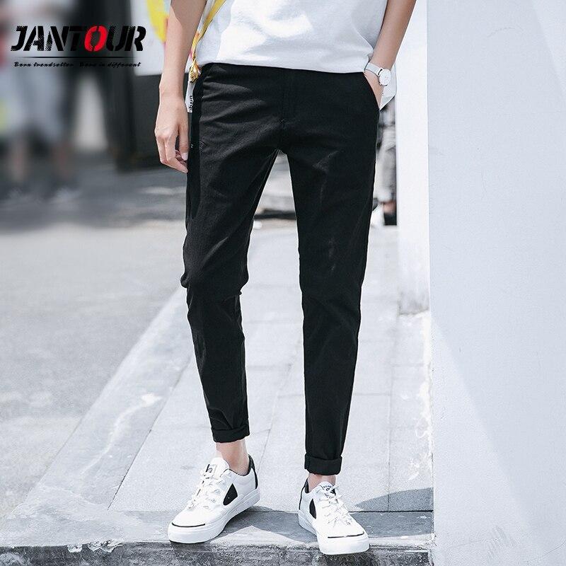 Jantour 2019 nova primavera verão dos homens calças casuais fino ajuste em linha reta estiramento calças com zíper férias de algodão calças casuais