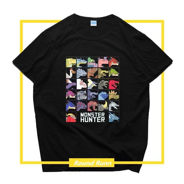 PS4 Game Monster Hunter World MHW Zinogre Cosplay Printed Tee Shirt Black Short Sleeve T-shirt