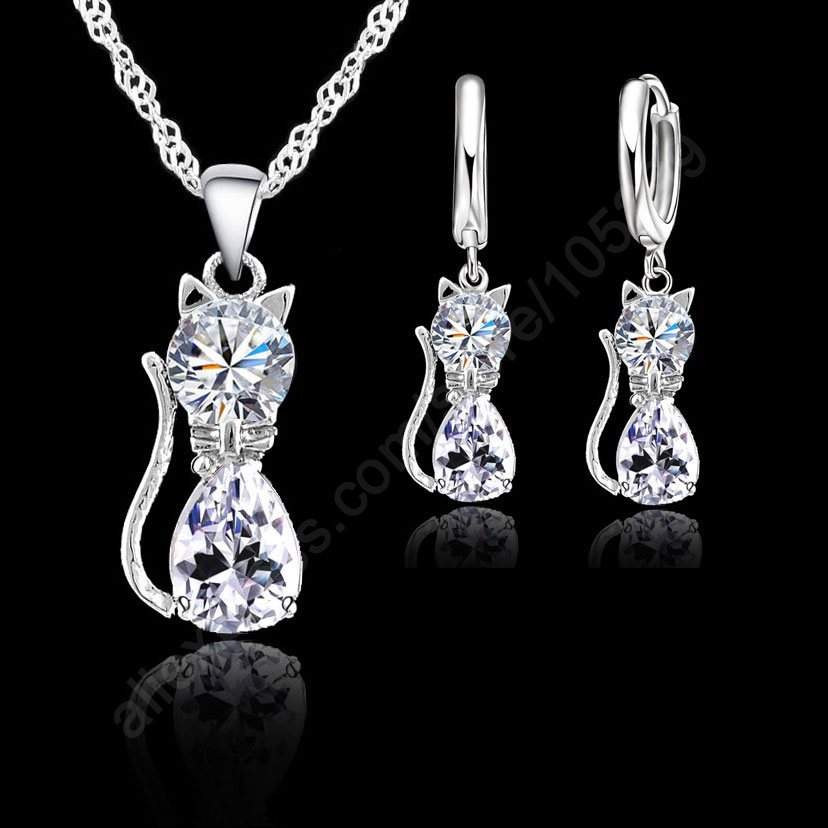 Jewellery Sets Accessories Genuine 925 Sterling Silver Cubic Zirconia Cat Kitty Necklace Pendant+Lev