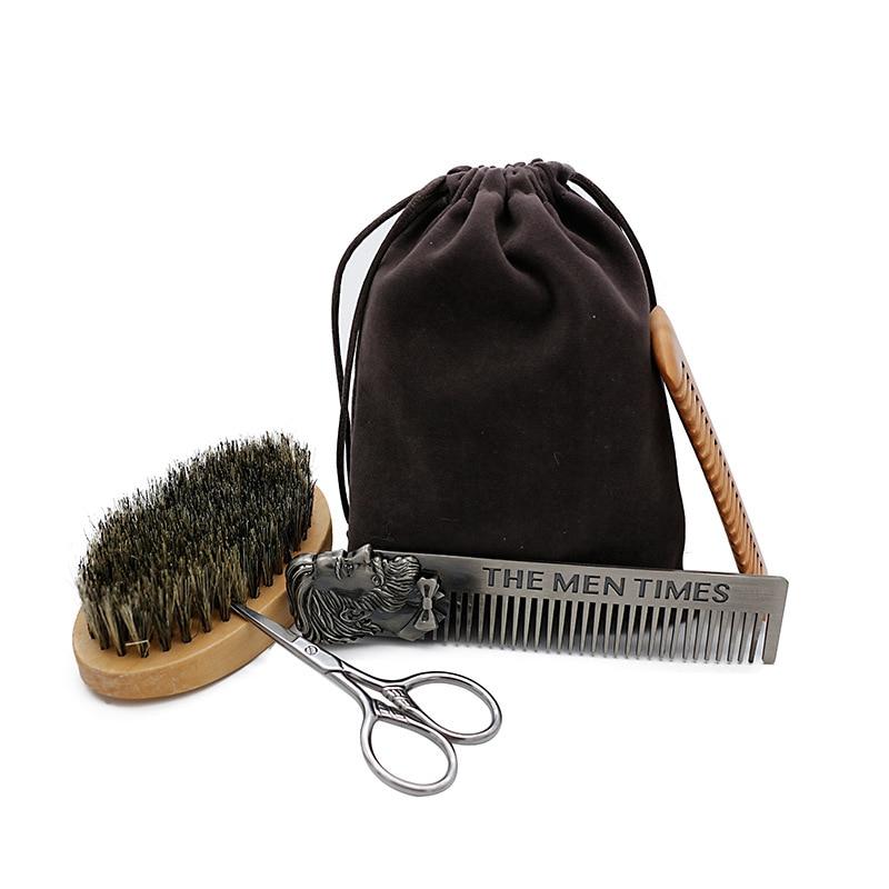 5pcs Men Beard Oil Kit Stainless Steel Beard Brush Comb Shaving Set Grooming & Trimming Kit Male Beard Care Set with Cloth Ba