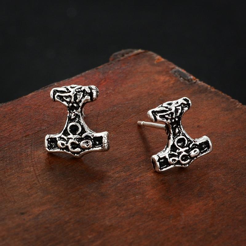 Mjolnir earrings Thors Hammer Stud Earrings Wild Totem Norse Viking Style jewelry Earrings for men