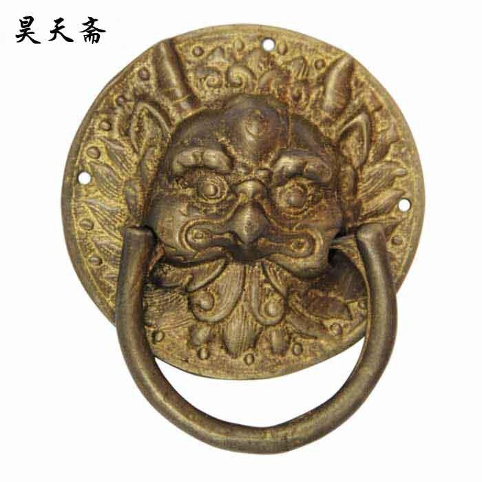 [Vegetariano Haotian] accesorios chinos de cobre para el hogar/puerta de cabeza de animal/Tirador de puerta de cobre anillo HTA-036