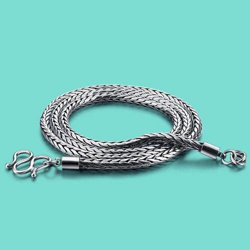 Collar de plata tailandesa 925 Estilo Vintage para hombre, cadena de serpiente creativa, diseño de collar de plata antigua, longitud 56-61cm, joyería de plata