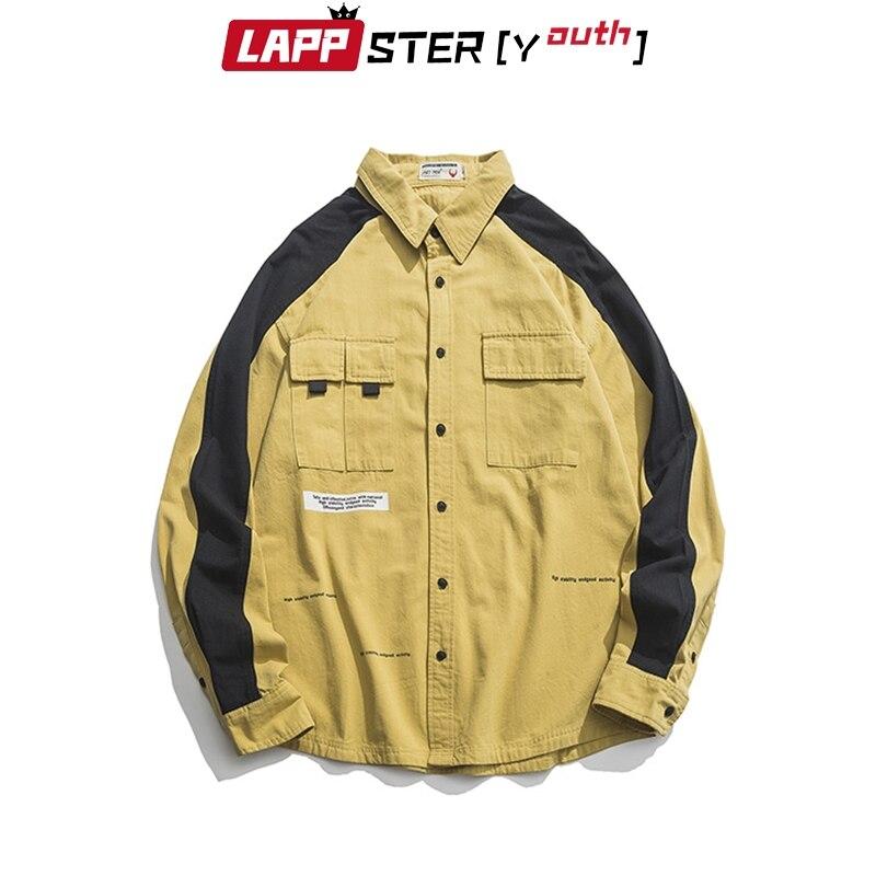 لابستر قميص رجالي أصفر مرقع قطن 2021 موضة الخريف ملابس الشارع الشهير قمصان رجالي harajuku تصميم كوري ملابس