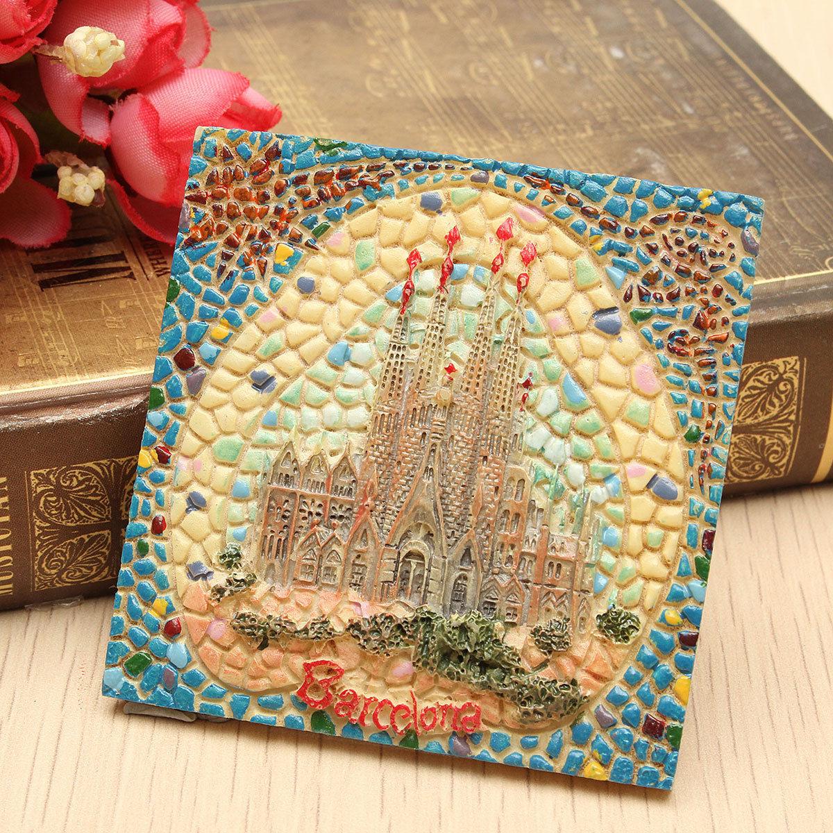 61mm Spain Tourist Souvenirs Gaudi Sagrada Familia Barcelona Fridge Magnets Hand-painted 3D Resin refrigerator stickers