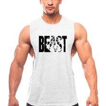 Tank top summer round neck wide split BEAST sports running vest mens cotton bodybuilding fitness sleeveless T-shirt