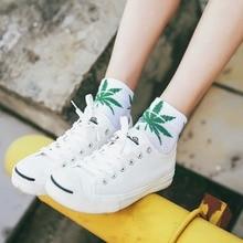 Femmes coton feuilles imprimer Skateboard rue mode feuille dérable hip hop chaussettes femmes court Harajuku style chaussettes à rayures skarpetki