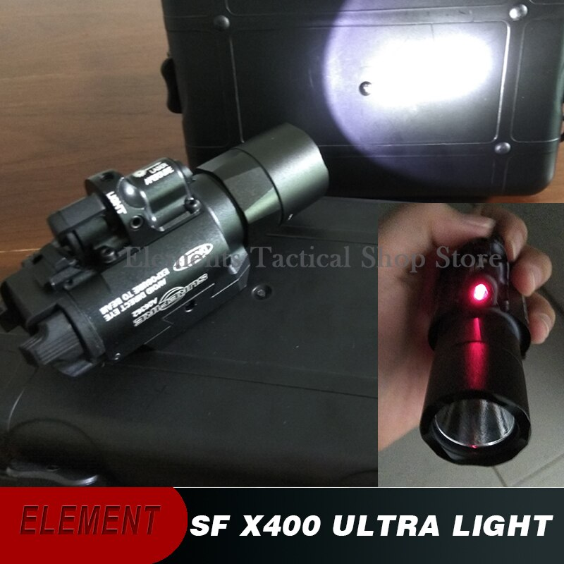 Elemento Airsoft Surefir X400 Ultra ligero láser rojo LED linterna táctica X400U linterna 20mm Picatinny Weaver Rail EX367