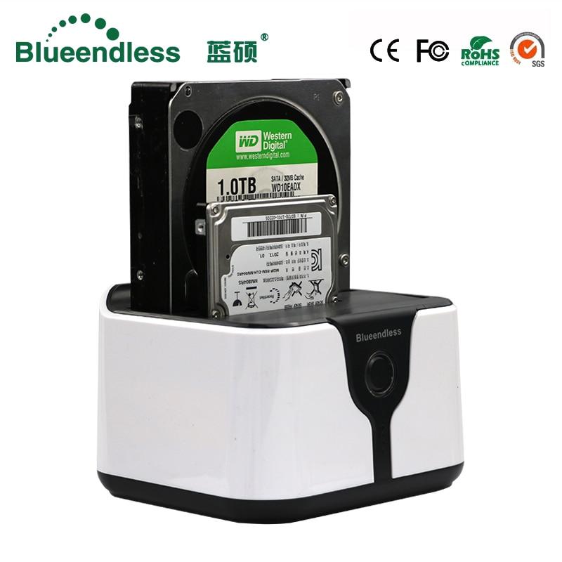 Blueendless Sata Usb 3.0 Carcasa Para Disco Duro SSD 2 Bay HDD Usb Box Case Hd Externo HDD Docking Station Sata Plastic SSD Box