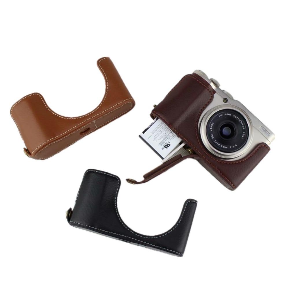Media Funda de cuero auténtico para cámara Digital Fuji Fujifilm XF10 X-F10 con apertura de batería