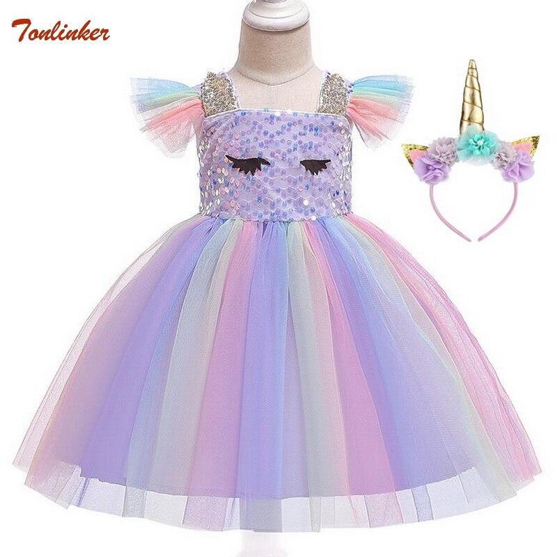 Disfraz de Unicornio para niña, vestido de Unicornio con lentejuelas, diadema, vestido tutú de fiesta con lentejuelas de arcoíris para niñas, tocado, Disfraz de Unicornio