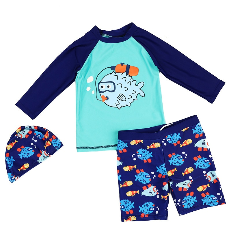 Kids Boy Two Pieces Swim Suit Cartoon Fish Sunblock Beach Bodysuit With Cap Boys Swimwear 2-13Y Children Swimsuit surfing Wear