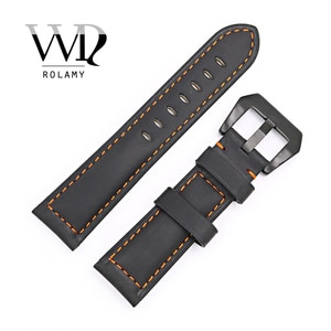 Rolamy 22 24mm Black Real Leather Handmade Replacement Thick Vintage Wrist Watch Band Strap With Black Color Brushed Buckle