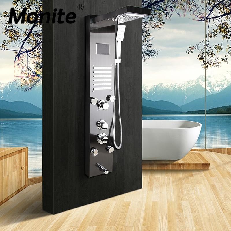 Monite-لوحة دش LED مع شاشة رقمية من النيكل الرمادي الداكن ، عمود تأثير المطر ، شلال ، نفاثات سبا ، صنبور خلاط للحمام