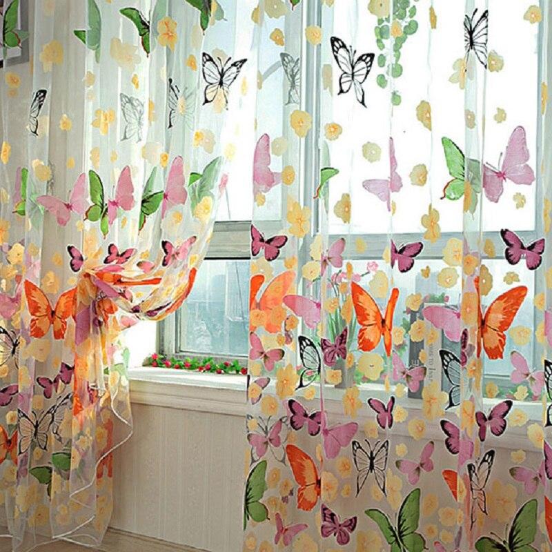 Cortina romántica de 200x100cm con diseño de mariposa, Cortina de hilo de tul para dormitorio, Organza, Cortina para ventana infantil para sala de estar o dormitorio