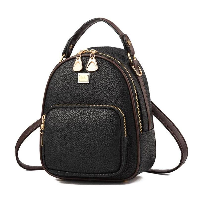 Брендовые маленькие кожаные женские рюкзаки на молнии, женская сумка для телефона, портативный рюкзак для девушек в повседневном стиле