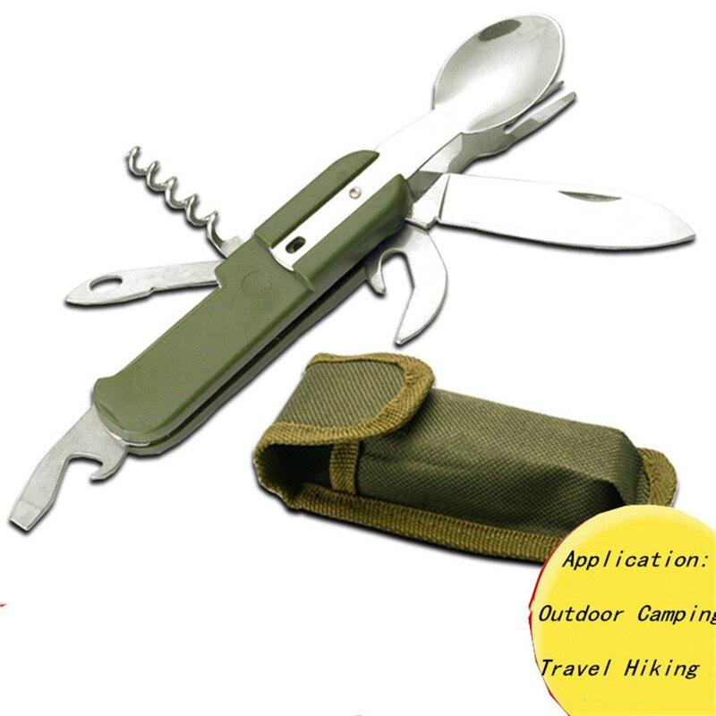 Pícnic al aire libre vajilla manejar deporte tenedor cuchillo cuchara abridor multiusos de Camping portátil de acero inoxidable Mesa