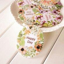 Étiquettes de joyeux day en papier 50 pièces   Étiquettes en forme dellipse, guirlande verte fleur design, emballage de décoration, Scrapbooking, bricolage
