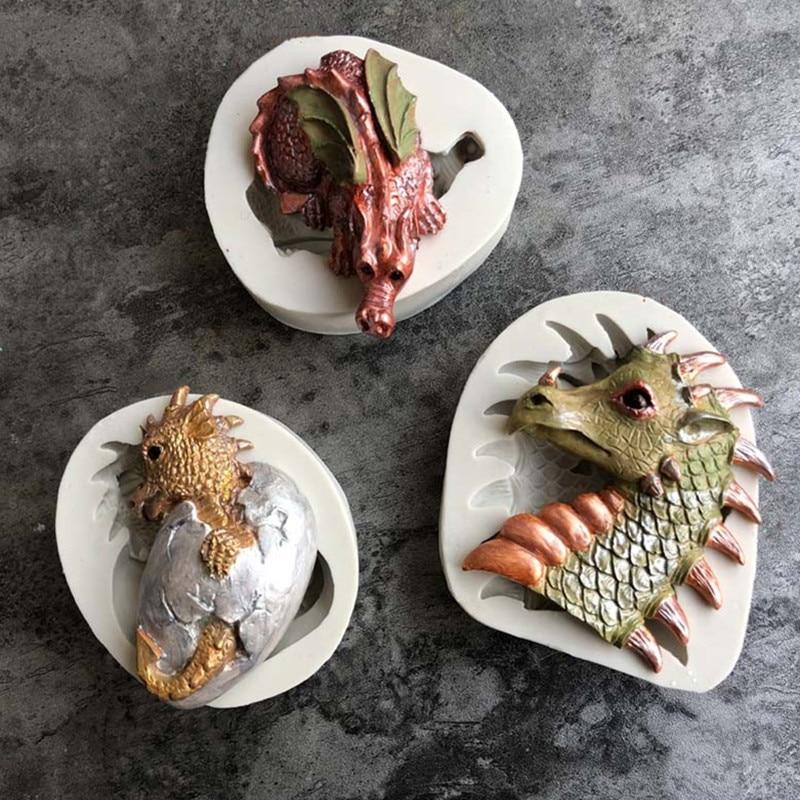 Aouke Easter Dinosaur Silicone Mould DIY Fondant Cake Mould Chocolate Fudge Dry Pez Mould Baking Tools