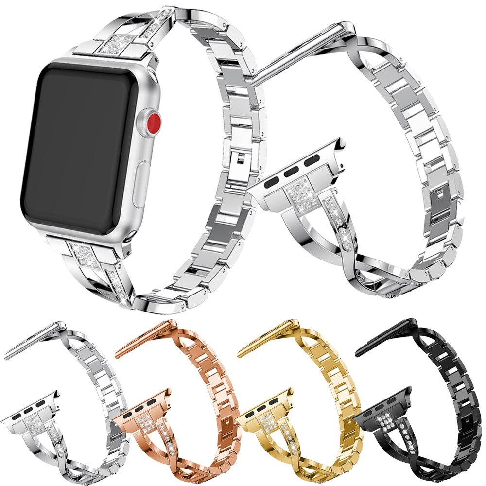 Металлический модный ремешок в форме х для Apple Watch Series SE 6 5 4 3 2 женский роскошный браслет для iWatch 40 мм 44 мм 38 мм 42 мм