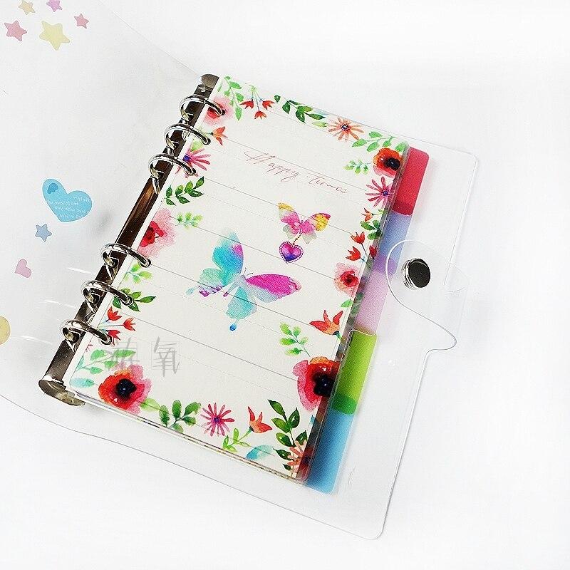 K & KBOOK 2018 PP planificador divisores A5 A6 serie de flores de dibujos animados divisor Set 5 hojas para espiral cuaderno planificador Agenda organizador