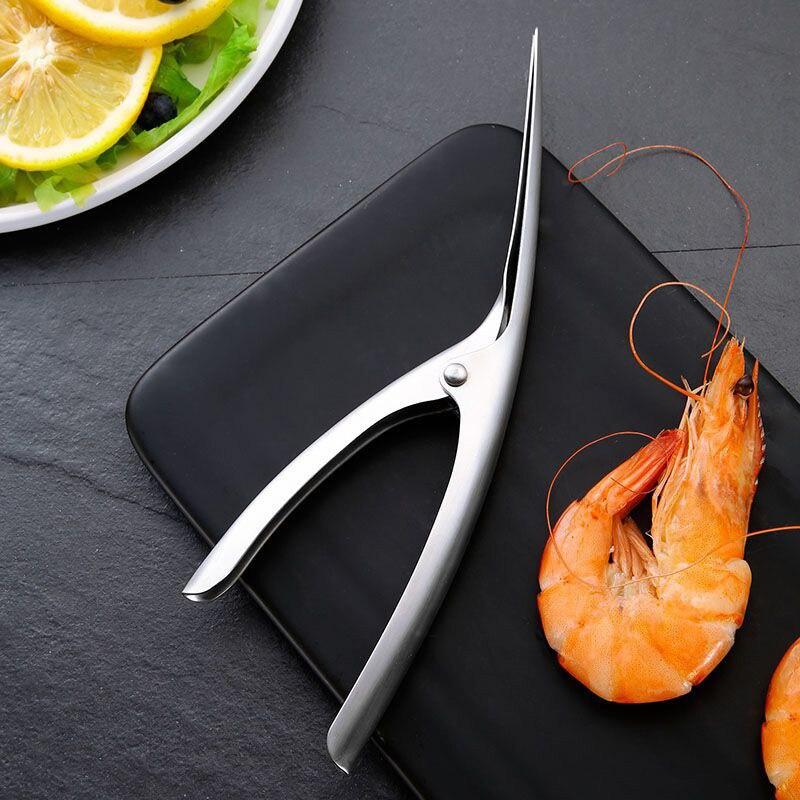 Aço inoxidável camarão descascador descascador descascador casca dispositivo criativo acessórios de cozinha ferramentas descascar camarão clipes 25