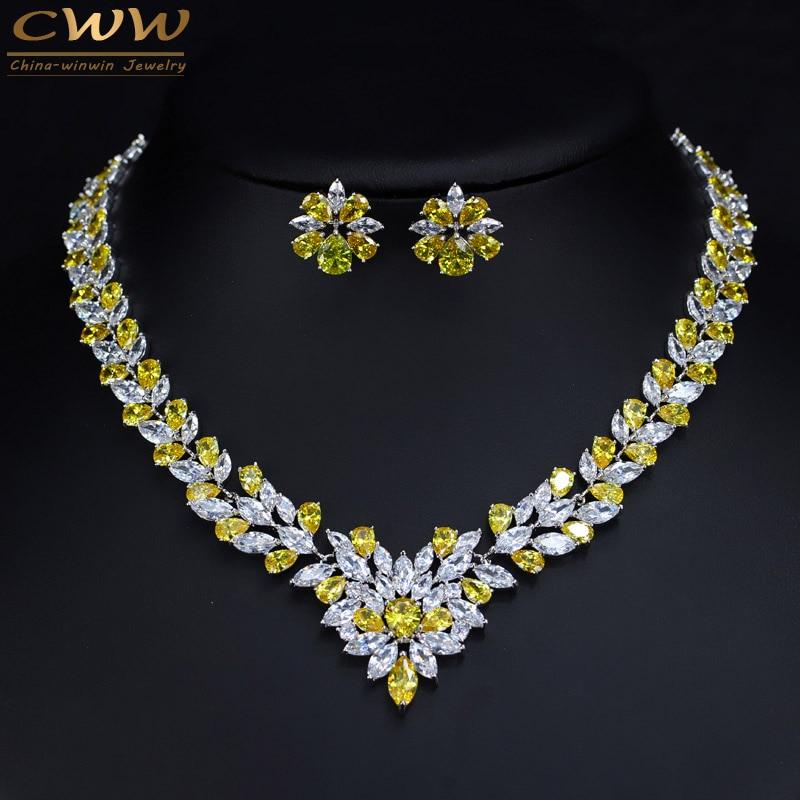 CWWZircons-طقم عقد وأقراط زركونيا مكعبة صفراء ، للنساء ، إكسسوارات مجوهرات الزفاف الفاخرة T262