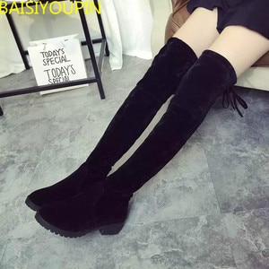 2018New Chilli with The Same Round Head Low Heel Boots Elastic Boots Super Thin Women's Boots Womens; Shoes