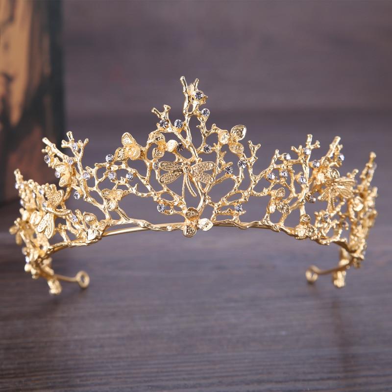Nueva Corona barroca de libélula nupcial Tiaras de diamantes de imitación para Mujer Accesorios para el cabello diadema de boda Tiaras para niñas