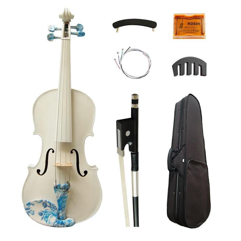 Violín de arte acústico 4/4 Arce pintado blanco para principiantes violín cuerdas instrumentos de música con Kit completo
