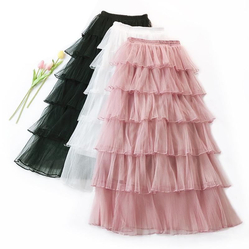 Falda plisada de satén de 6 capas de cintura alta para mujer, ropa de malla, falda de fiesta, novedad de primavera 2020, falda informal hasta el tobillo de línea a para pastel