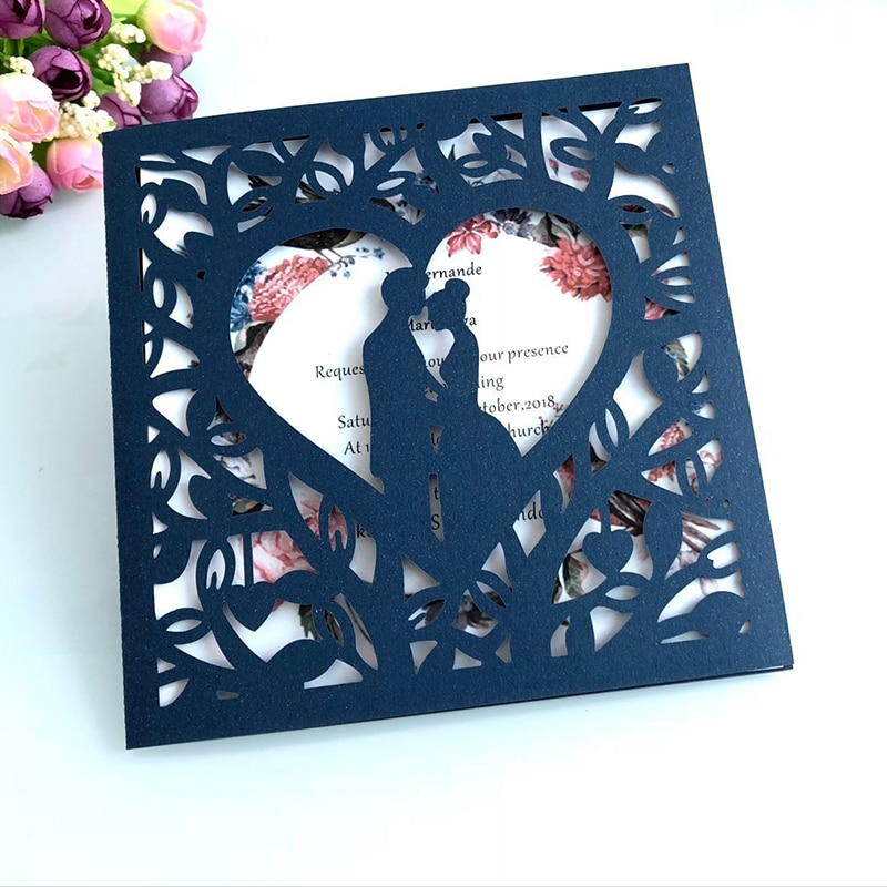 1pcs Blue White Gold Red Hollow Heart Laser Cut Wedding Invitation Card Greeting Personalized Party Decoration Supplies