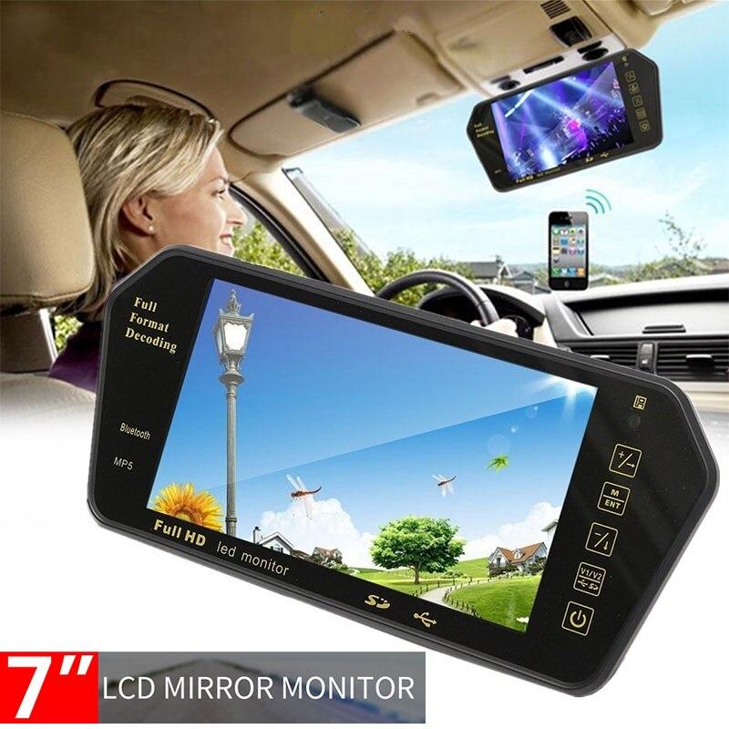 Vehemo, 7 pulgadas, espejo retrovisor multifunción para coche, MP5, Bluetooth para automóvil, Transmisor Fm, reproductor de música Premium