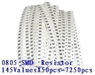 0805 smd 5% resistor amostras kit, 1r-1m ohm 146valuesx20pcs = 2920 pçs, frete grátis