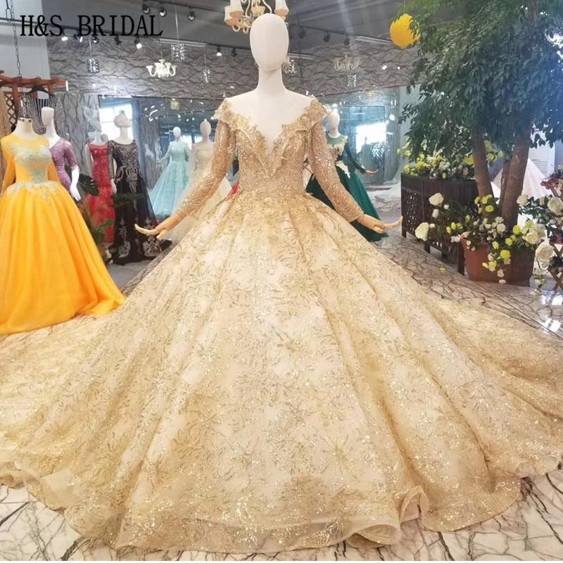 H & S-فستان زفاف عربي فاخر ، ذهبي ، شفاف ، أكمام طويلة ، مطرز ، فستان زفاف