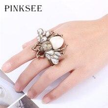 PINKSEE rétro Punk réglable grande abeille anneau de doigt pour les femmes filles fête Club été bijoux Antique cristal insectes anneaux