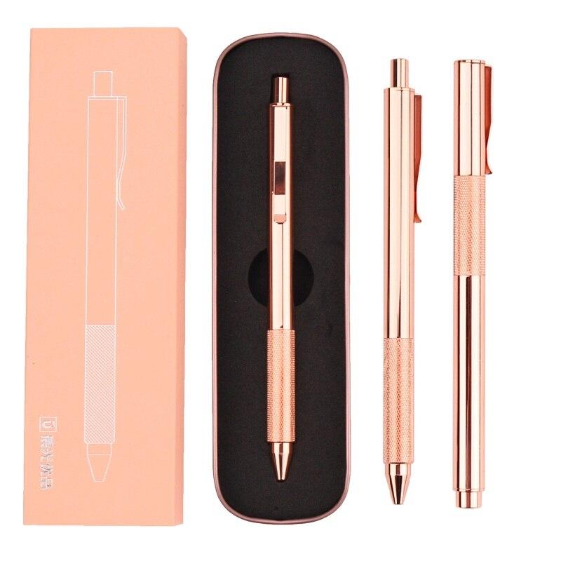 M & G Rose złoty luksusowe długopis na prezent luksusowe metalowy długopis 0.5mm ze stali nierdzewnej stylo bille de luxe czarny tusz żelowy długopisy z pudełkiem