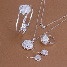 S925 prata cor senhoras jóias, os estados unidos. Presente de natal. Moda rosas terno-ware. Comércio exterior 4 conjuntos. S243