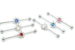 50pcs 14g Surgical Steel Ear Industrial Bar Gems Ear Scaffold Barbells Cartilage Helix Bar Body Jewelry Ear Piercing Earring NEW
