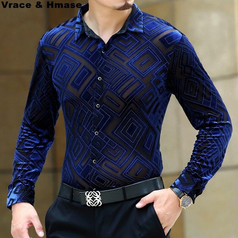 Camisa de manga larga con diseño de diamante de terciopelo hueco de gama alta boutique 2019 camisa de seda de gusano de seda de otoño e invierno Calidad Suave M-XXXL para hombres