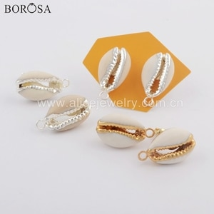 BOROSA 5/10Pairs Gold/Silver Color Natural Cowrie Shell Earrings Fashion Shell Stud Earrings With Charm Jewelry Findings G1772