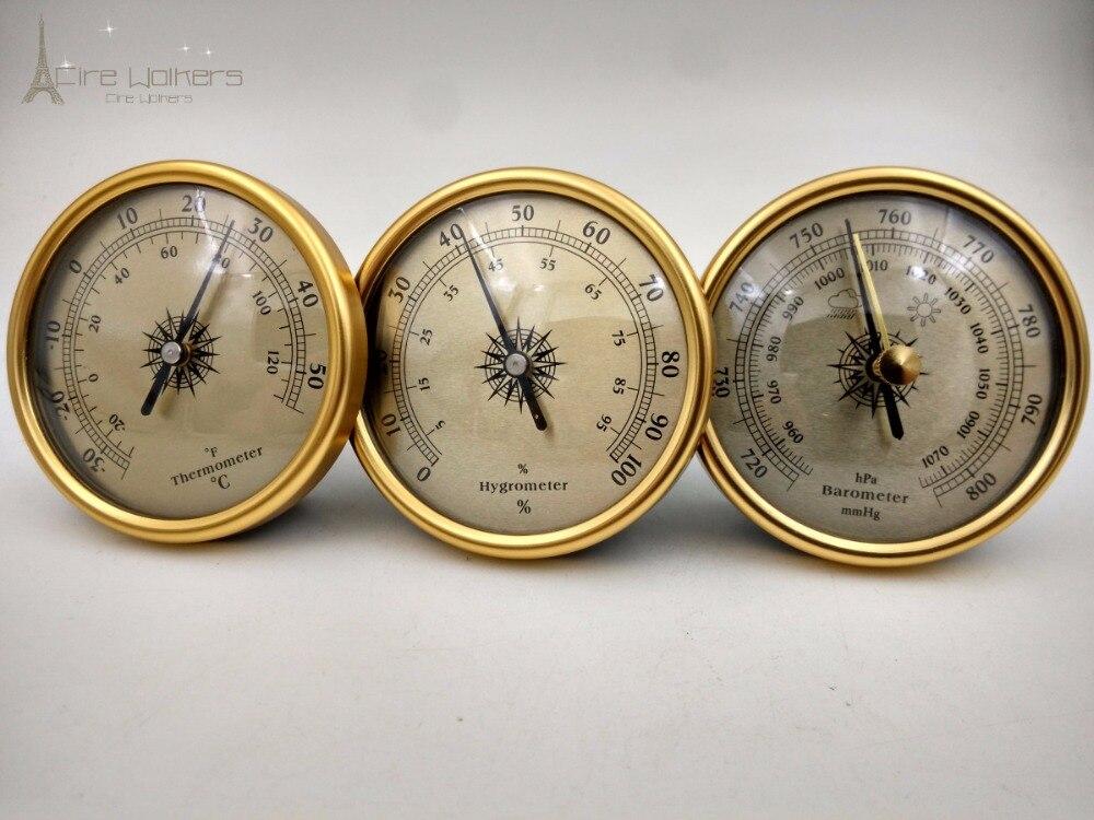Novo 1 conjunto 3 em 1 qualidade dial estação meteorológica tradicional metal barômetro higrômetro temperatura 72mm dourado e prata