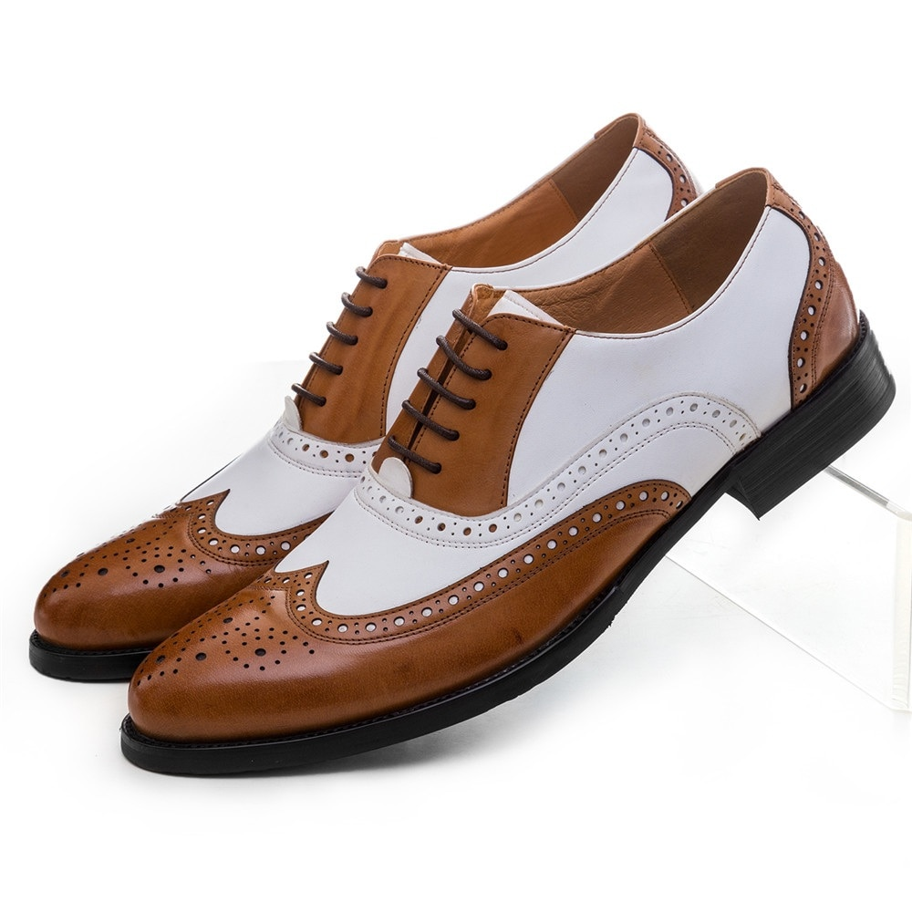 أحذية زفاف جلدية أصلية للرجال ، أحذية رسمية باللون الأسود والأبيض والبني والأبيض مقاس كبير EUR45