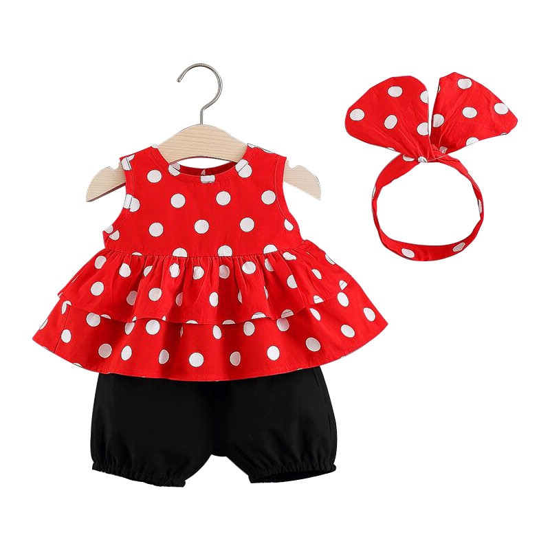 Ropa para niños 2019 verano femenino bebé verano conjunto coreano Camiseta de manga corta pantalones cortos de moda sin mangas Set