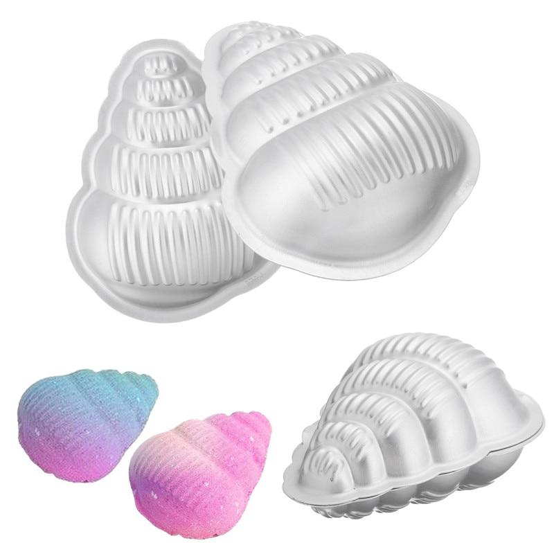 2 unids/set de molde para bomba de baño de aluminio con forma de concha, molde para bomba de baño de Metal, molde para bomba de baño de aluminio, Fizzy DIY para lavar sartén, herramientas de molde