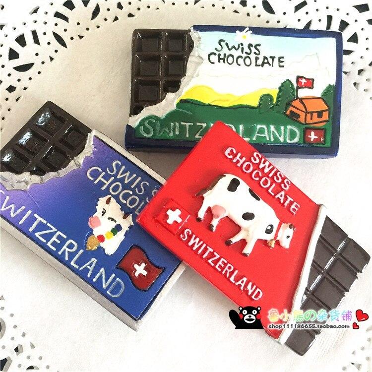 Горячая Распродажа, креативное моделирование, швейцарский молочный шоколад, 3D магниты на холодильник, сувениры для путешествий, магнитные наклейки на холодильник